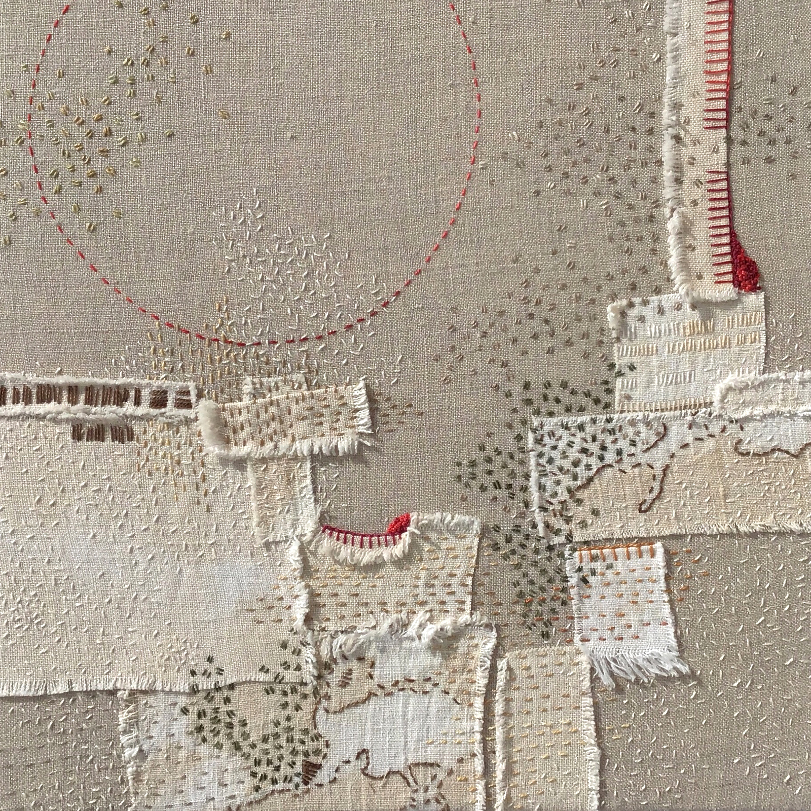 "A Year in Thread: February, 2016, pearl cotton and  linen, 12"" x 12"""