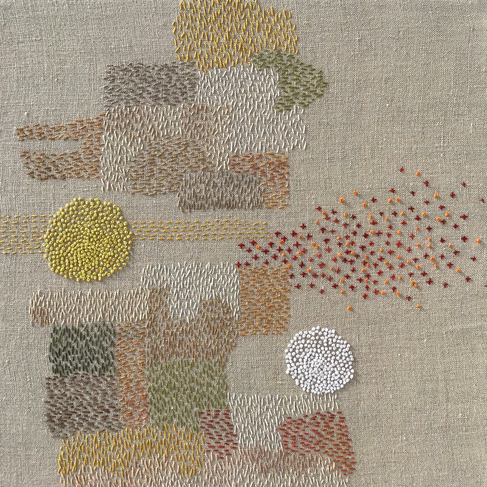 "A Year in Thread: November, 2016, pearl cotton and  linen, 12"" x 12"""
