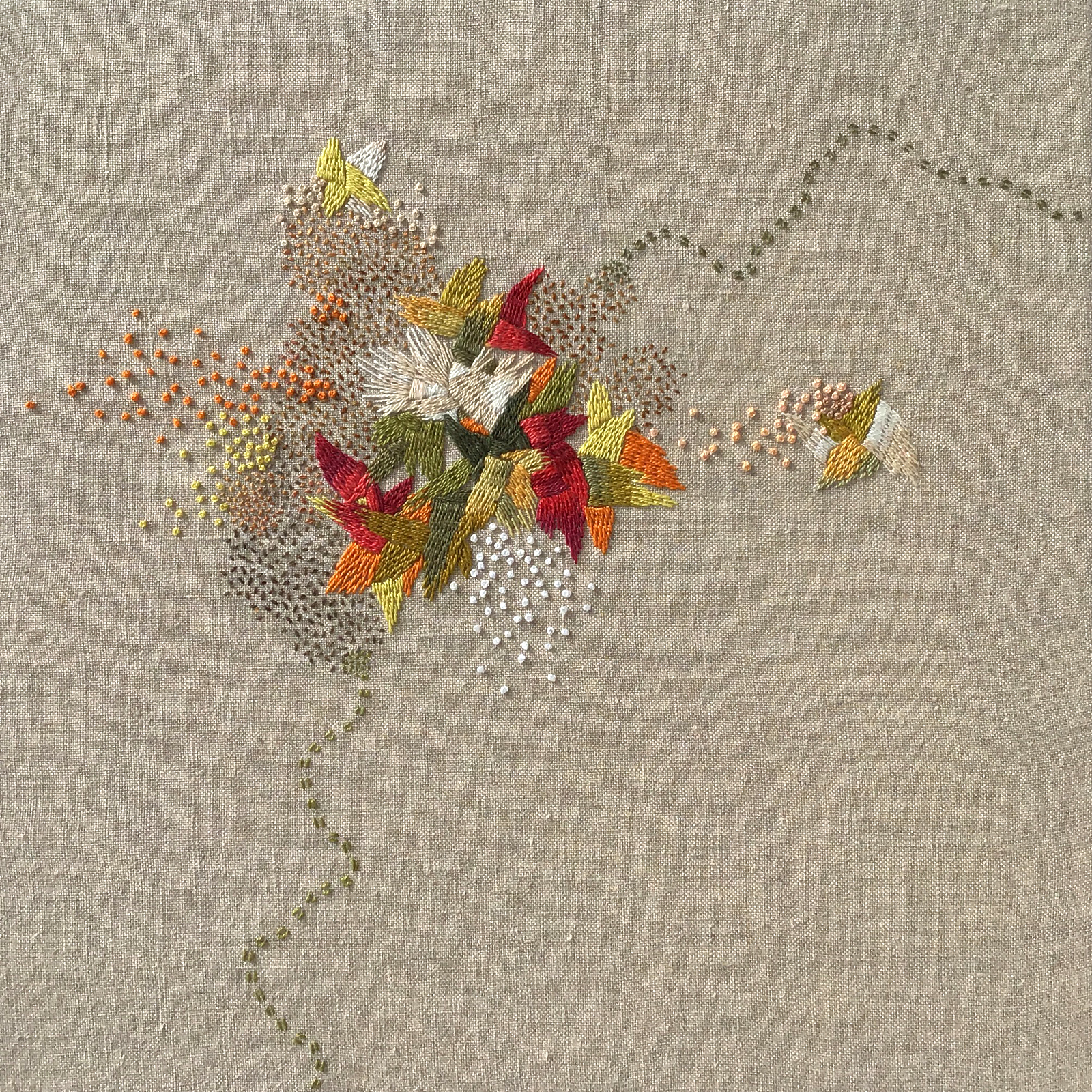 "A Year in Thread: June, 2016, pearl cotton and  linen, 12"" x 12"""
