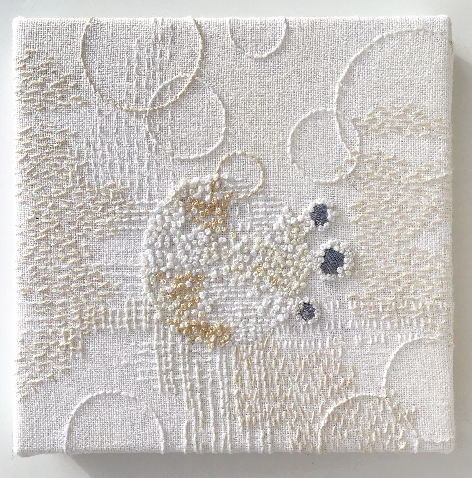 Stitch Journal 2019, No. 2 (Snow), 2019, pearl cotton and linen, 6 x 6 inches
