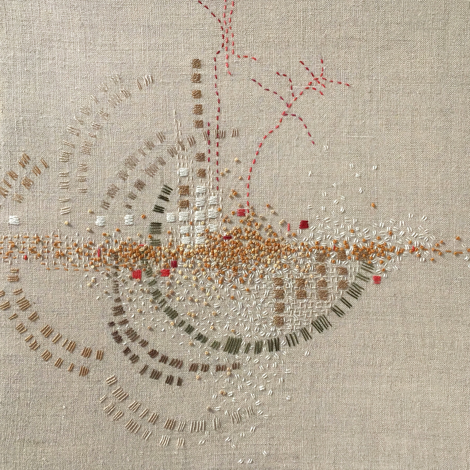 "A Year in Thread: January, 2016, pearl cotton and  linen, 12"" x 12"""