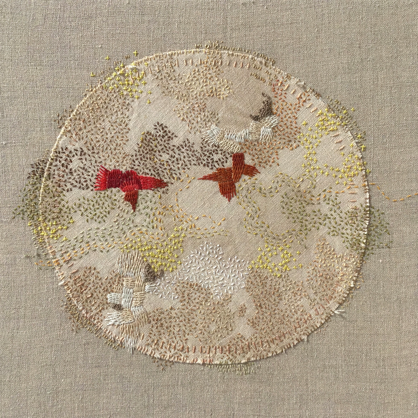 "A Year in Thread: March, 2016, pearl cotton and  linen, 12"" x 12"""