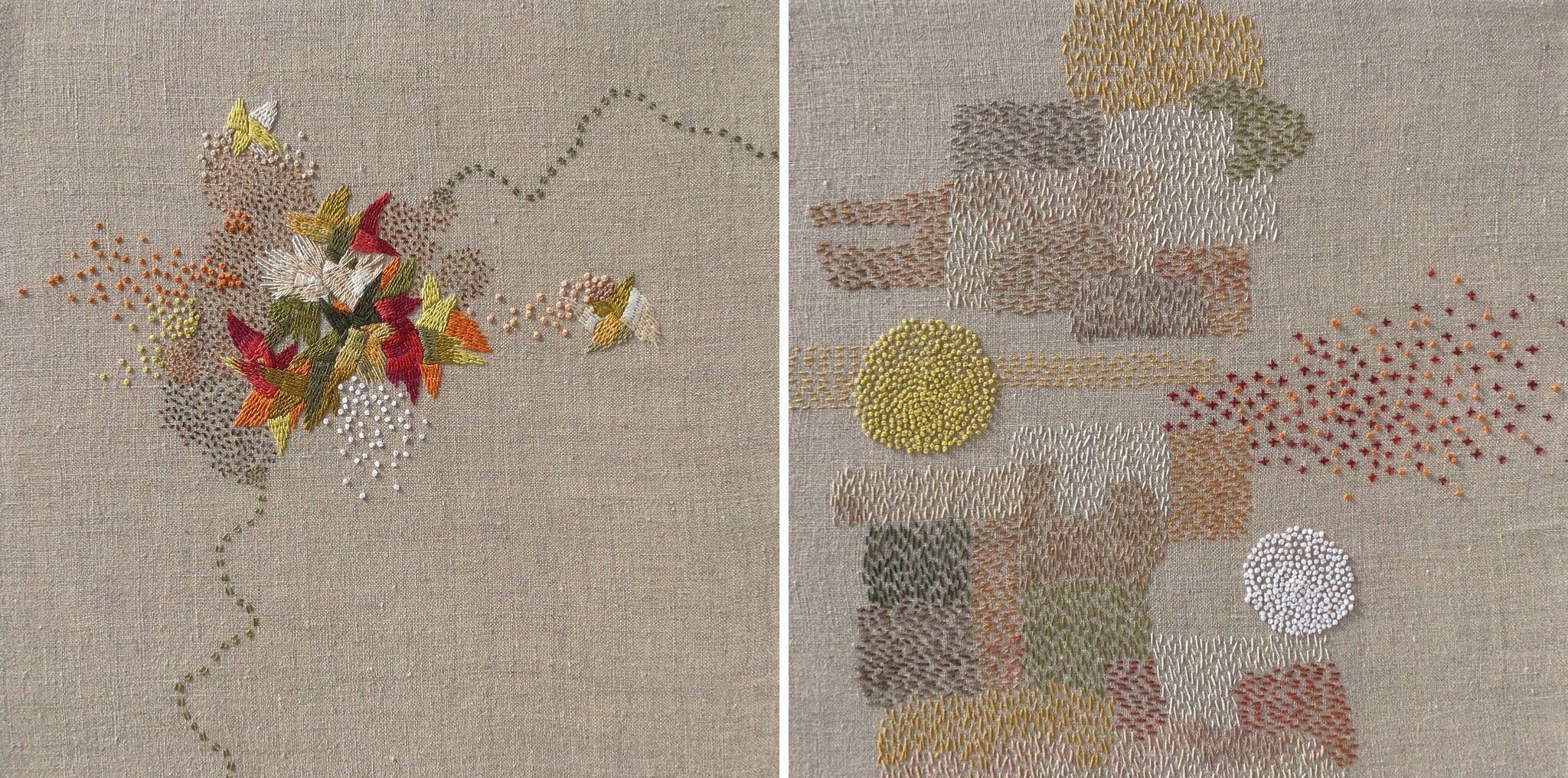 "Bonnie Sennott,  A Year in Thread: June  (left) and  A Year in Thread: November  (right), pearl cotton and linen, each 12"" x 12"" (2016)"