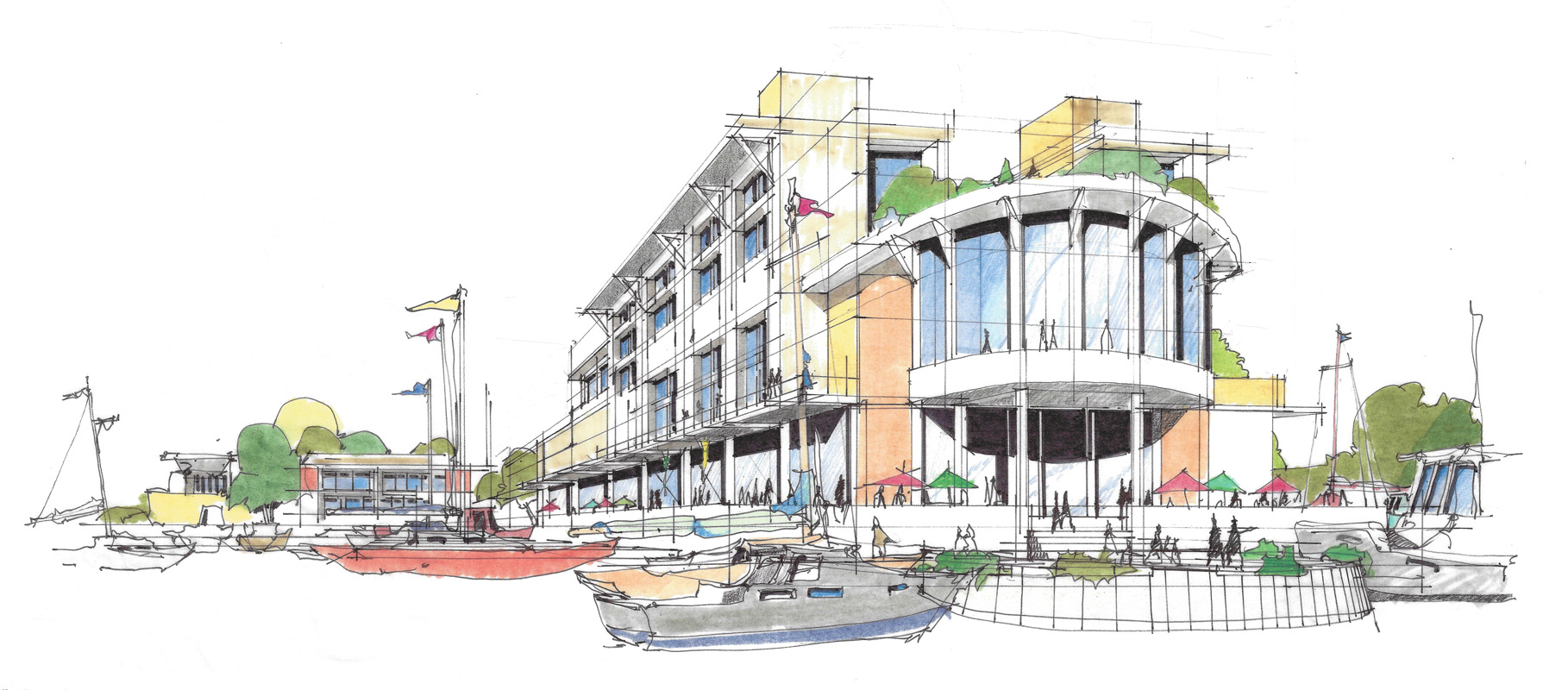 Image from Ward-Young Architecture & Planning. A centerpiece of the development would be a food and wine hall