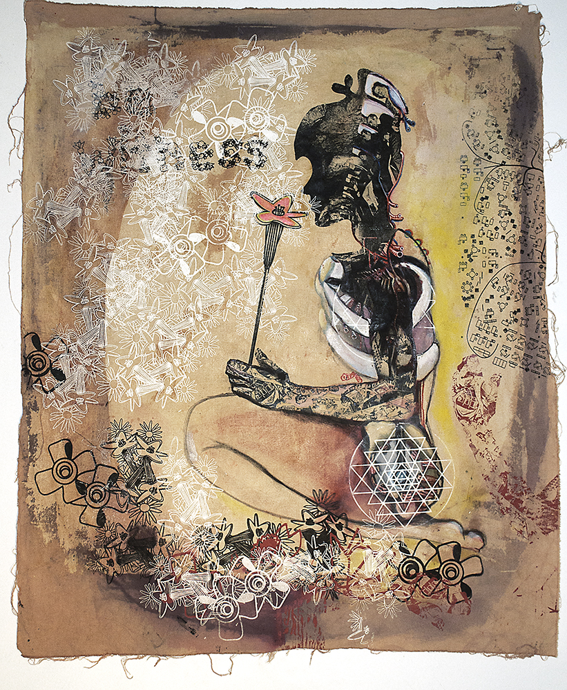 "Sniff. 2010-2012 Silkscreen, Mixed Media on canvas 35"" x 28"" collection of g. de la haba"