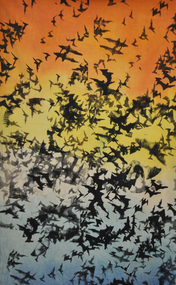 Rainbowbats. Silkscreen on dyed canvas.