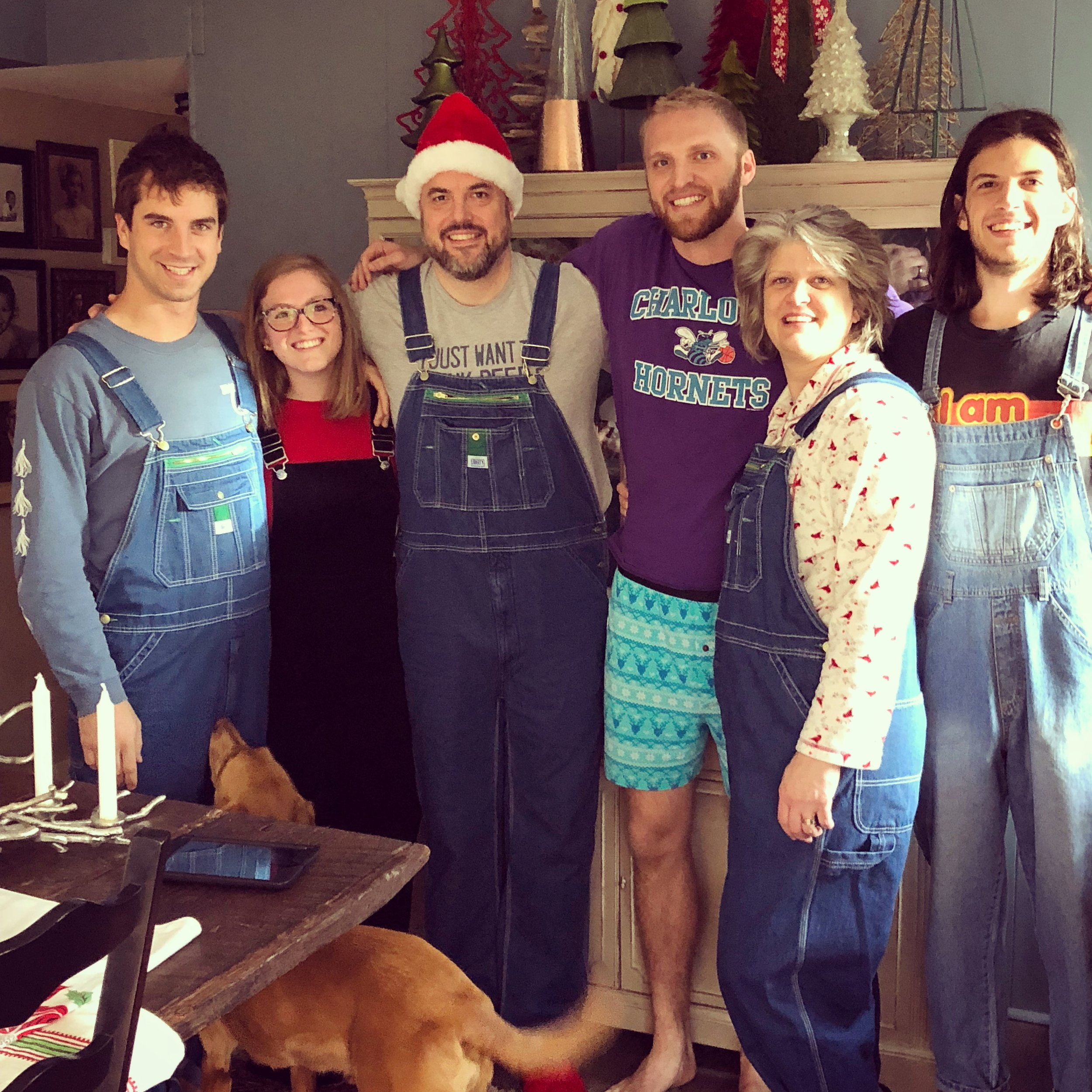 All of us in our overalls on Christmas morning