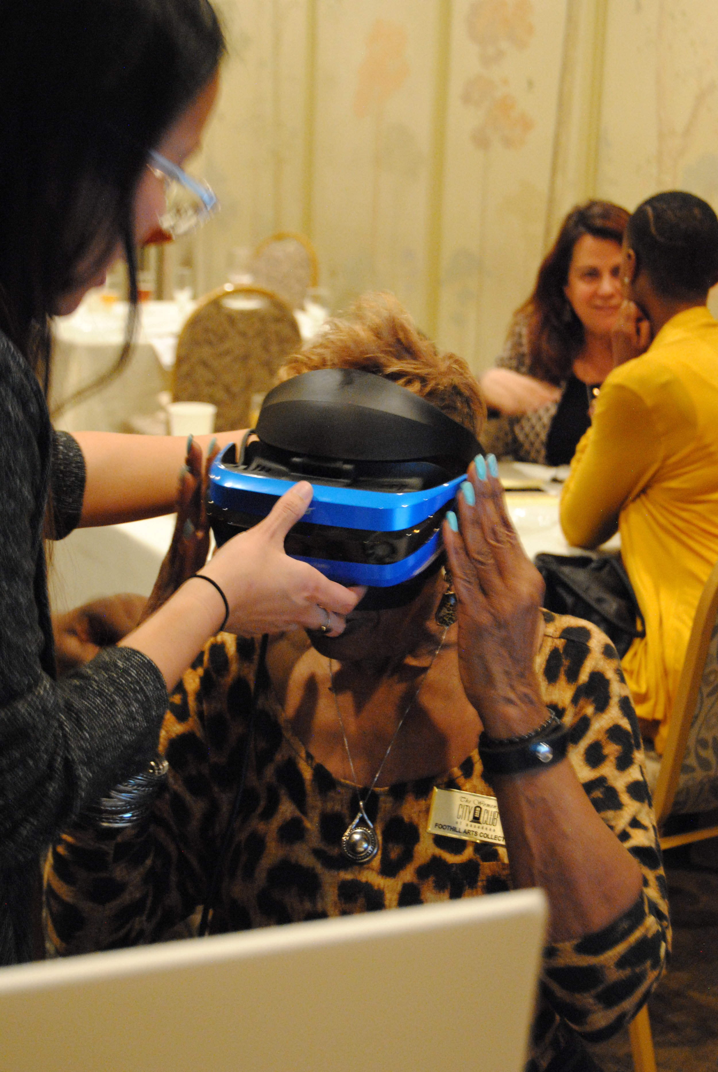The TechDiva is fitted with a headset for the virtual reality experience