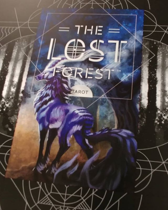 Printing proof of the box. When folded everything in black and white wraps around the top/bottom/sides. #thelostforest #tarot #tarotdeck #printingpress