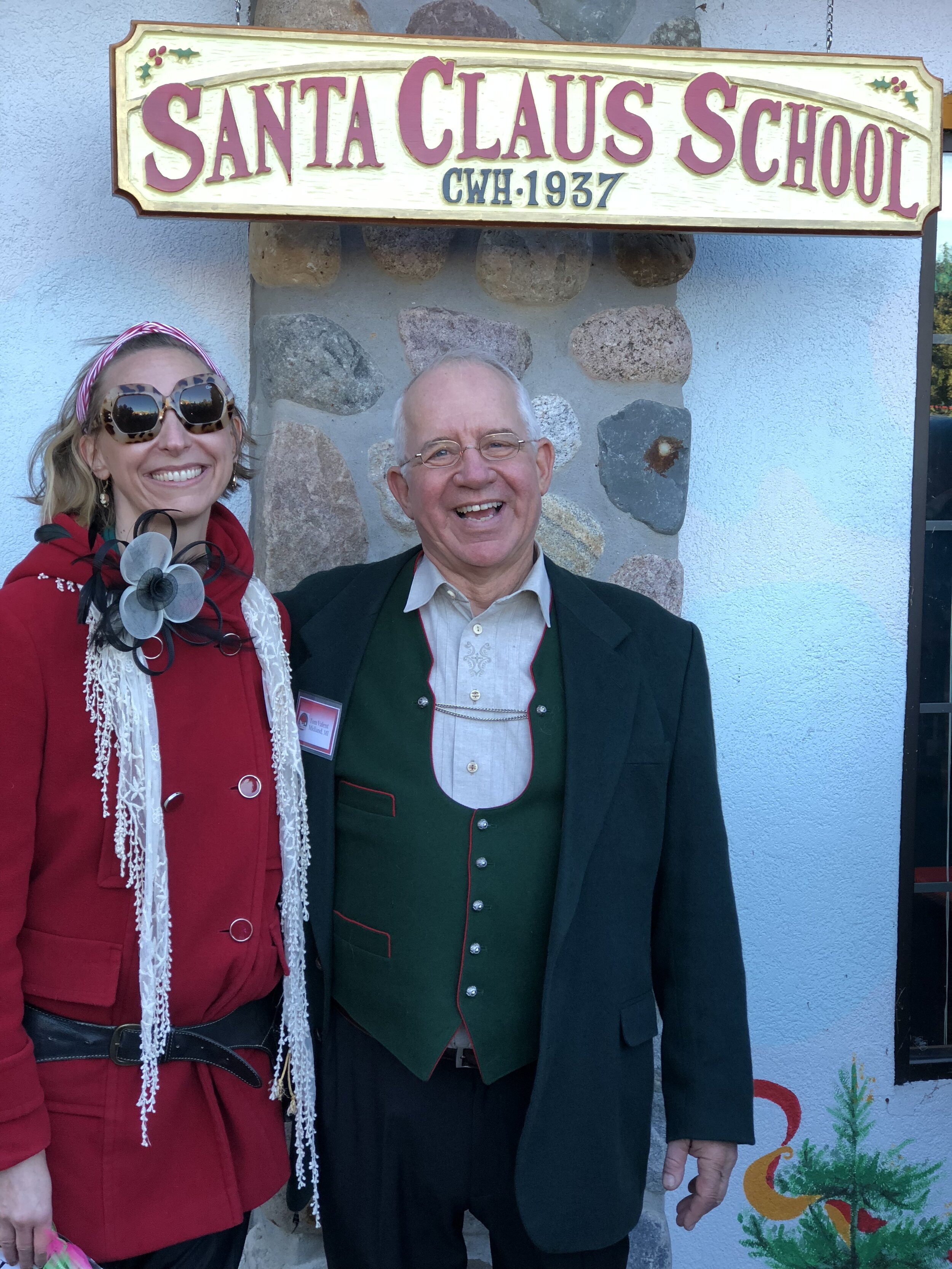 With Tom Valent of Charles W. Howard Santa Claus School.