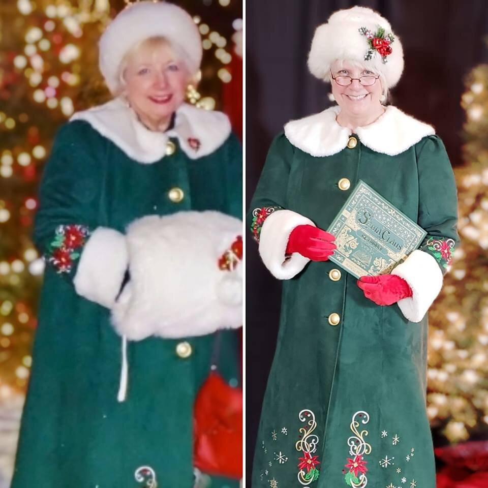 Jacki Chamberlain is on the right wearing her cherished green coat from Cheryl Claus, left, who died April 2018.
