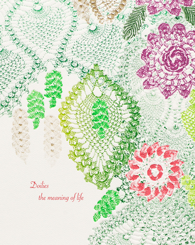 Doilies the meaning of life - artist book (2018)The artist book Doilies the meaning of life compliments a visual art exhibition of printmaking by Wendy Tokaryk. The work in the exhibition are relief prints; a technique of rolling ink onto textiles enables the transfer of image to paper.The artist book that accompanies the exhibition includes two writing commissions by Angela Marie Schenstead and Caitlynn Cummings. Each writer responded to a selected work in the exhibition; Chamomile Tea, Sophie, and Me was a response to a print titled Afghan, and Sloughing Cinnabar was a response to a print titled Yellow Wallpaper.Additional texts were selected from letters written by Clara Wolcott Driscoll, and a diary entry by Louis Comfort Tiffany, both of the Tiffany Glass Studios (1878 – 1933); these artists were important to the development of the Arts & Craft industry in the early 20th century. Their texts inspired several prints in the Doilies relief print series: a triptych of letters titled The Round Robin, and Elephant lamp inspired by the lamp designs of Tiffany Studios.Through image and text the artist book offers perspectives and interpretations to stimulate the viewer's imagination and provide insight into the printed images.