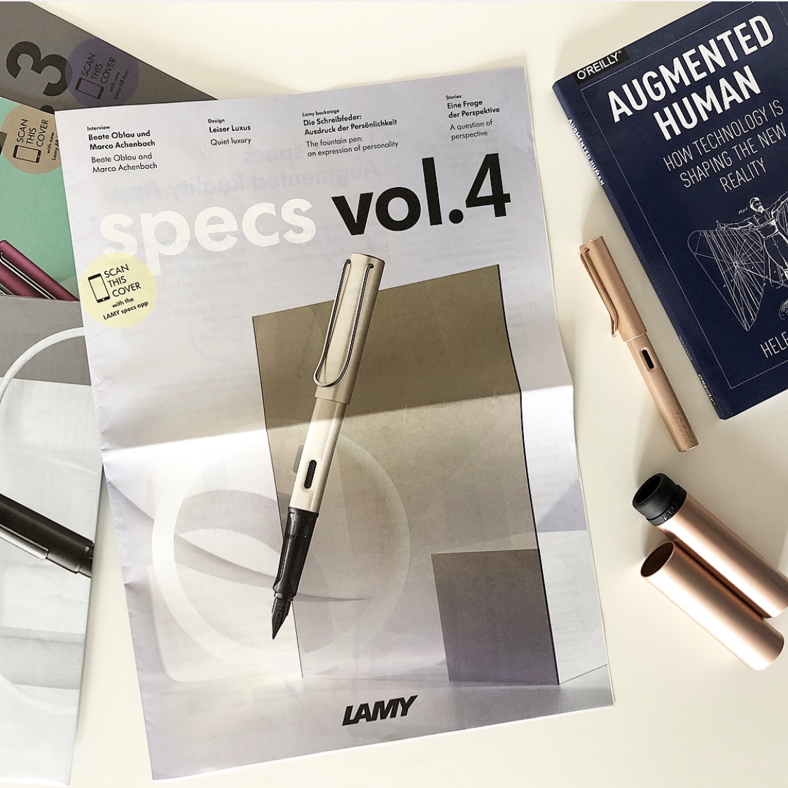 LAMY specs vol. 4 and LAMY Lx Rosegold Fountain pen. Photo: Helen Papagiannis