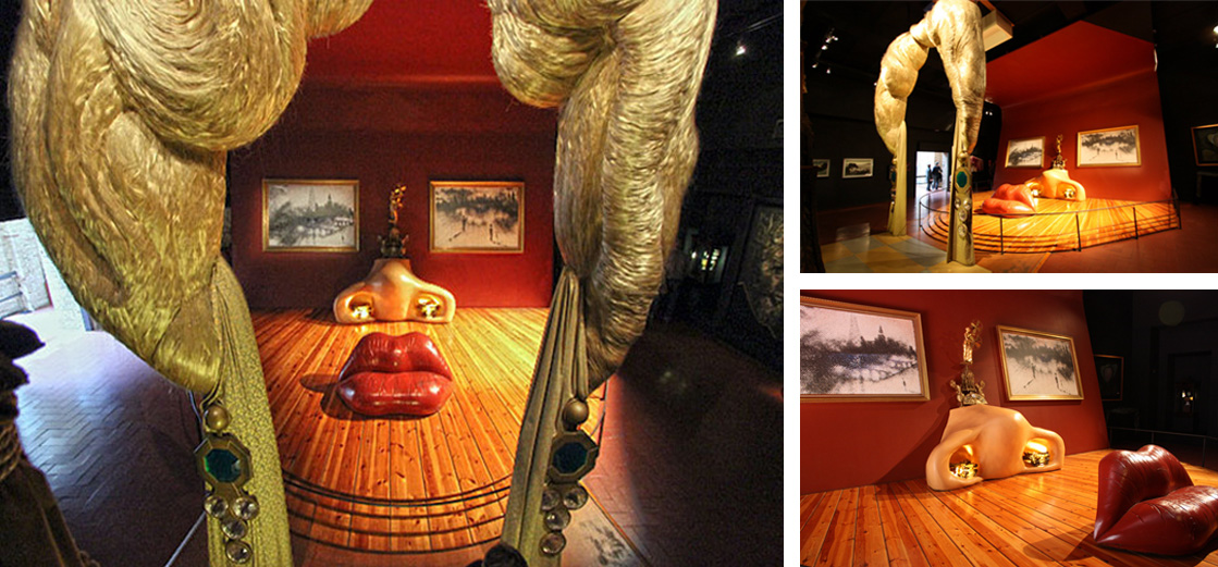 """Face of Mae West Which Can Be Used as an Apartment"" at the Dalí Theatre-Museum in Figueres, in Catalonia, Spain."