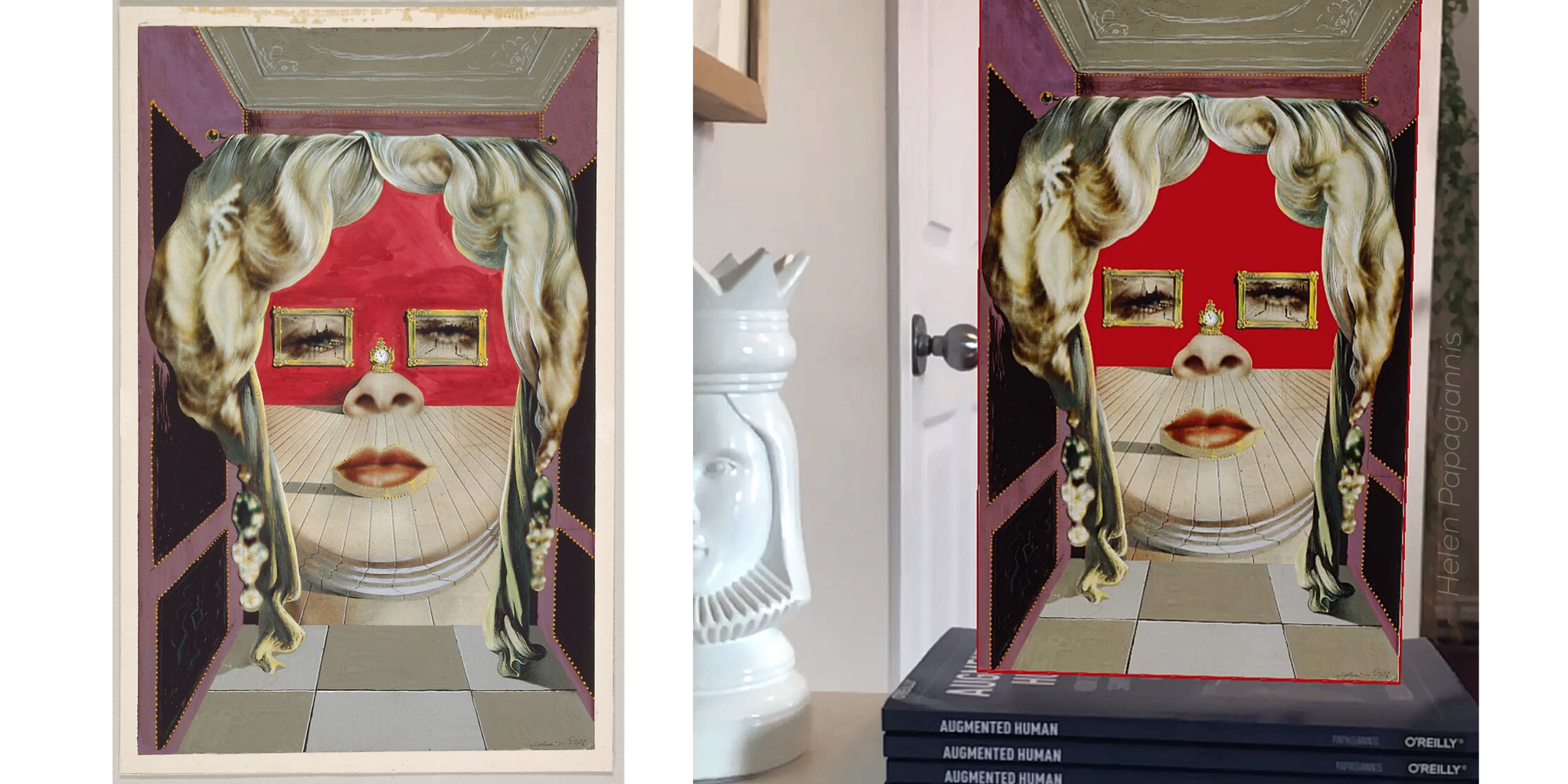 "Left: Original collage ""Mae West's Face which May be Used as a Surrealist Apartment"" Salvador Dalí, 1934, Art Institute of Chicago. Right: Augmented Realty collage of Dalí's ""Mae West's Face"" by Helen Papagiannis, 2019."