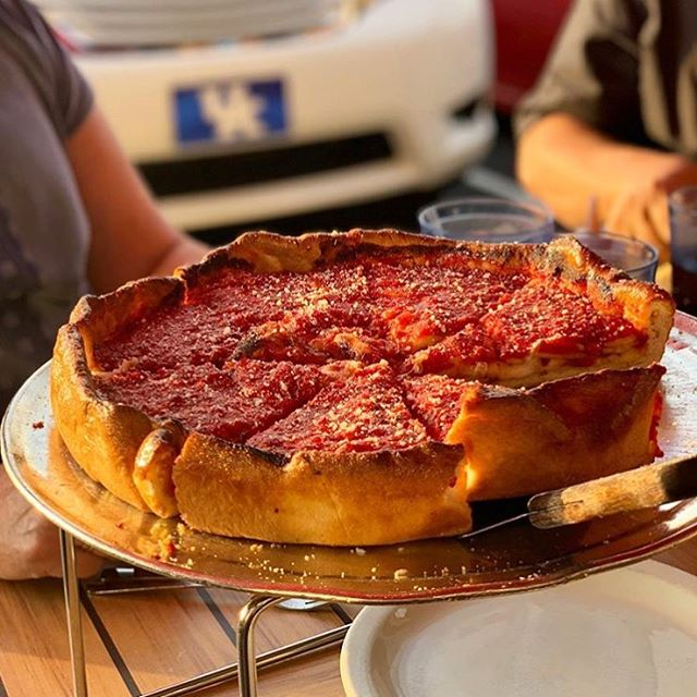 "#repost of this gorgeous pie taken by one of our favorite humans 📸@itscodyrose - - ""A little pizza Chicago in Northern Kentucky 🍕 Is my caption too cheesy?"""