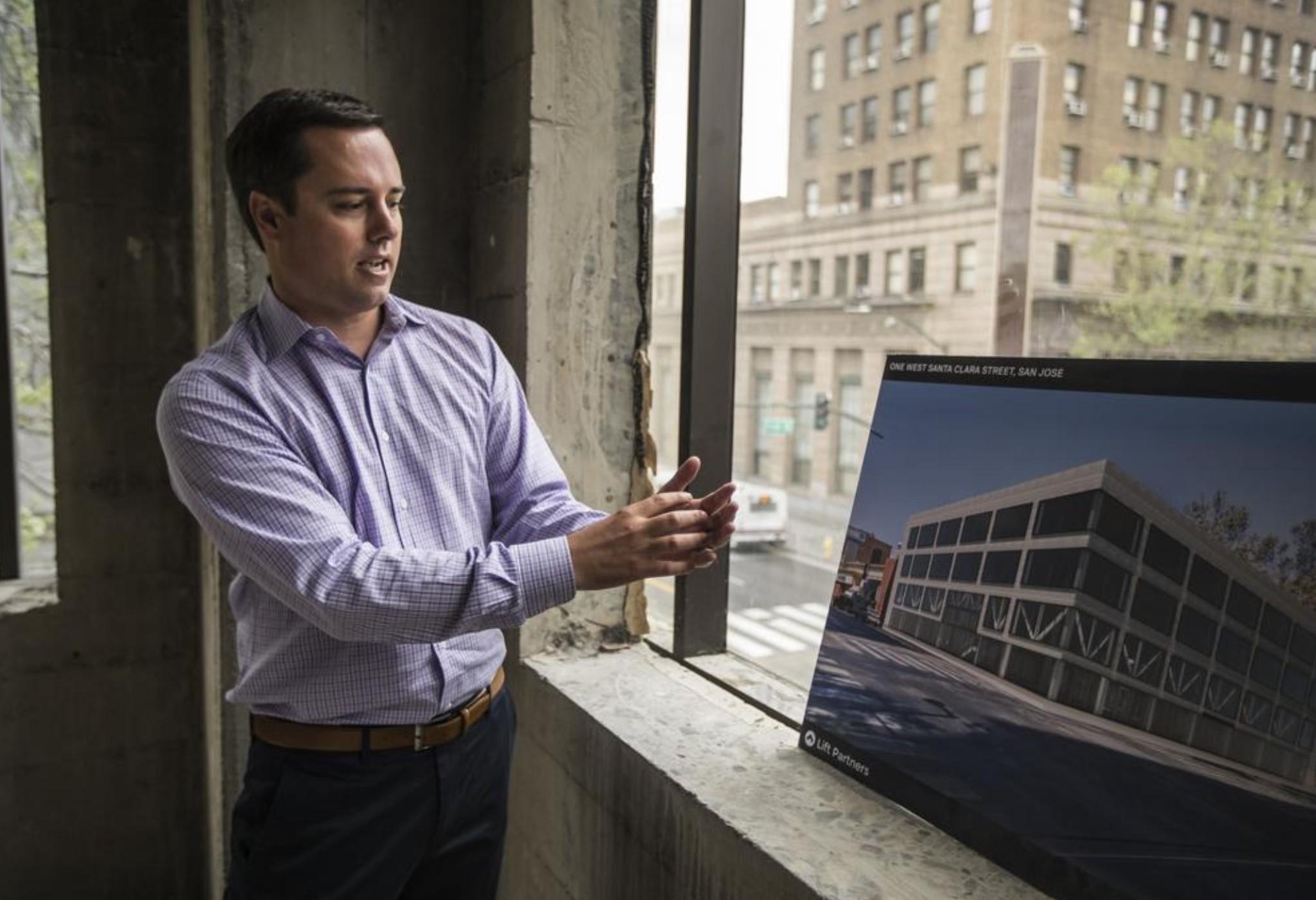 Freise describing Lift Partner's project at 1 W Santa Clara Street while under construction