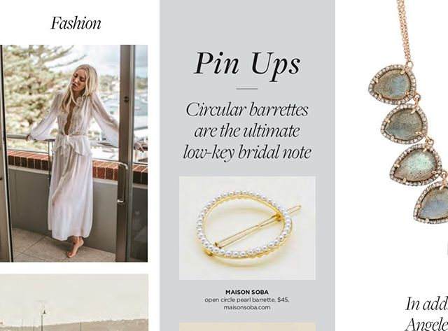 @maisonsoba open circle pearl barrette in the current C Magazine Wedding issue • 🐚 @ccaliforniastyle #weddings