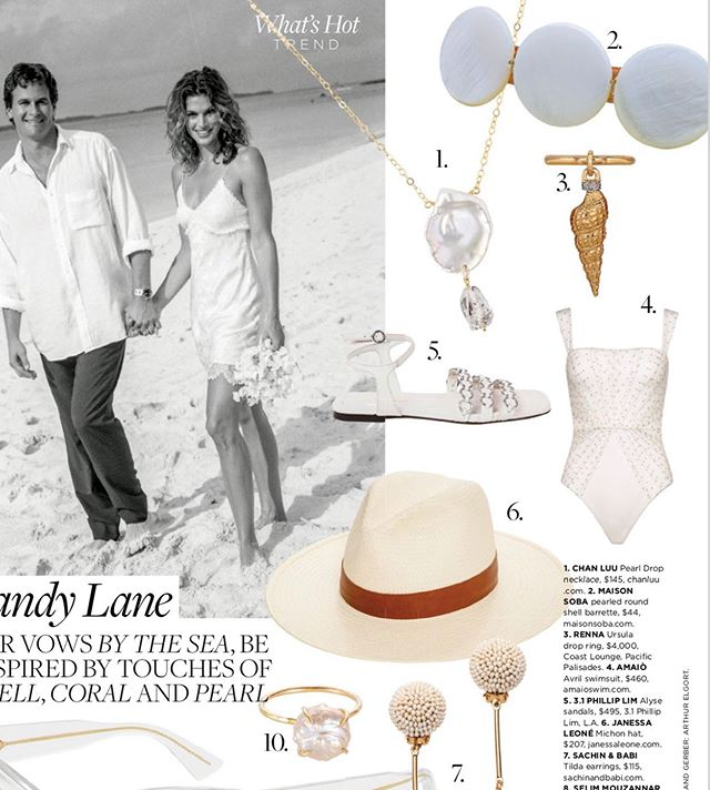 @maisonsoba pearled round shell barrette in the current C Magazine Wedding issue • 🐚 @ccaliforniastyle #weddings