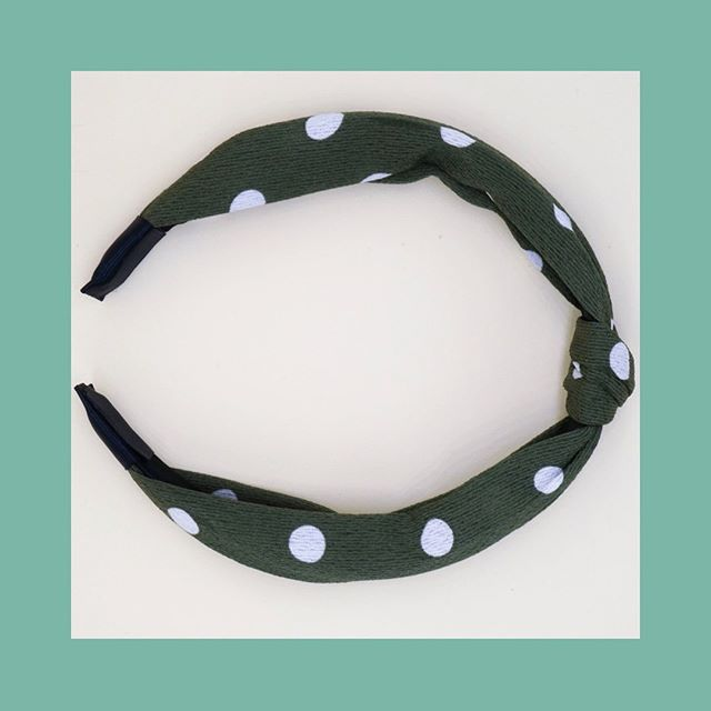 meet the green dot headband • this chic, one size all headband is comfortable and keeps hair away from your face in the cutest way. linen fabric knotted over a comfort fit headband. link in bio #maisonsoba