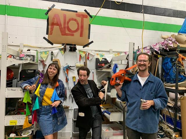 Auckland Library of Tools founders Amanda Chapman (left) and Tom Greer (right) with Ryan Dyment, founder of Toronto Tool Library