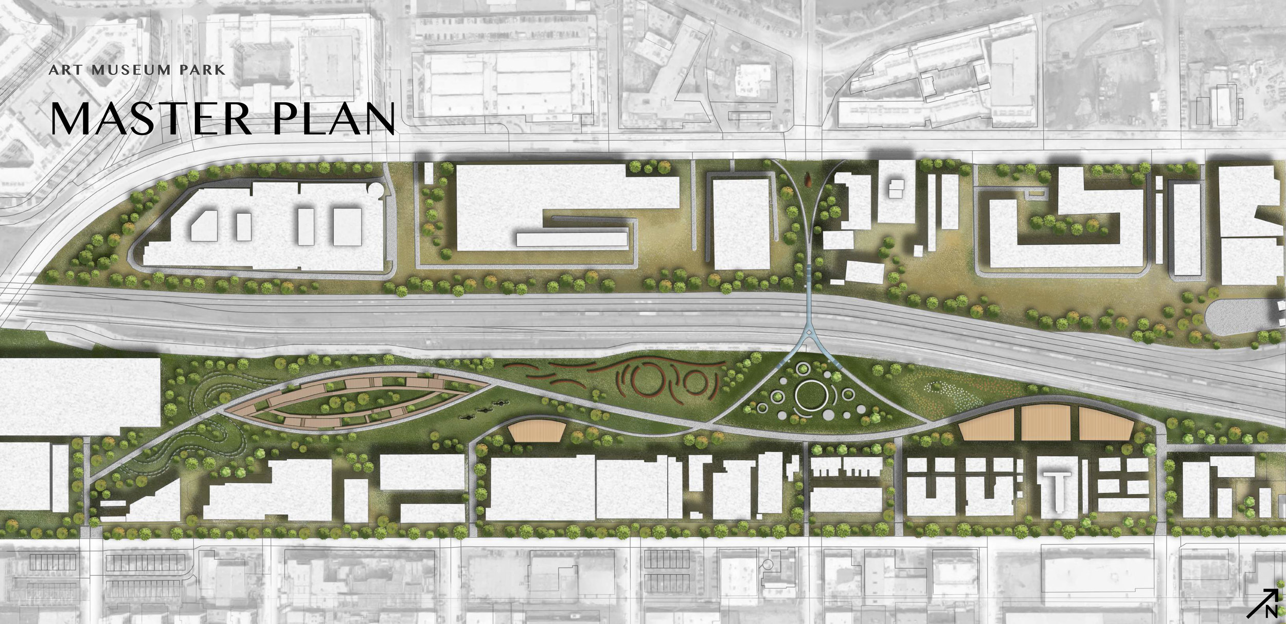 Wei Wang  (ENVD 3100 - Fall 2018): Master plan for a proposed Art Museum Park in the RiNo Art District, Denver
