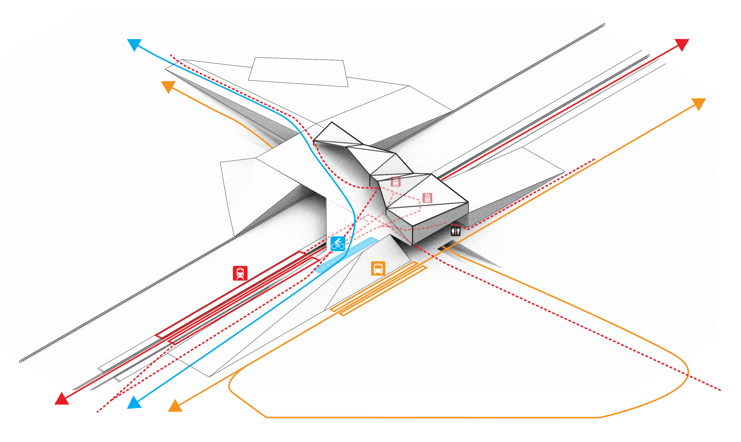 Will Young  (ENVD 3100 - Fall 2018): Circulation diagram of a proposed commuter rail hub in RiNo Art District, Denver