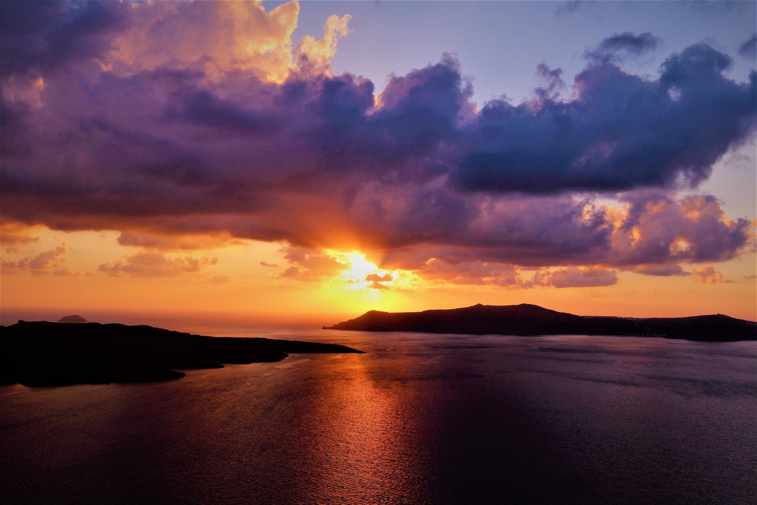 Santorini caldera sunset