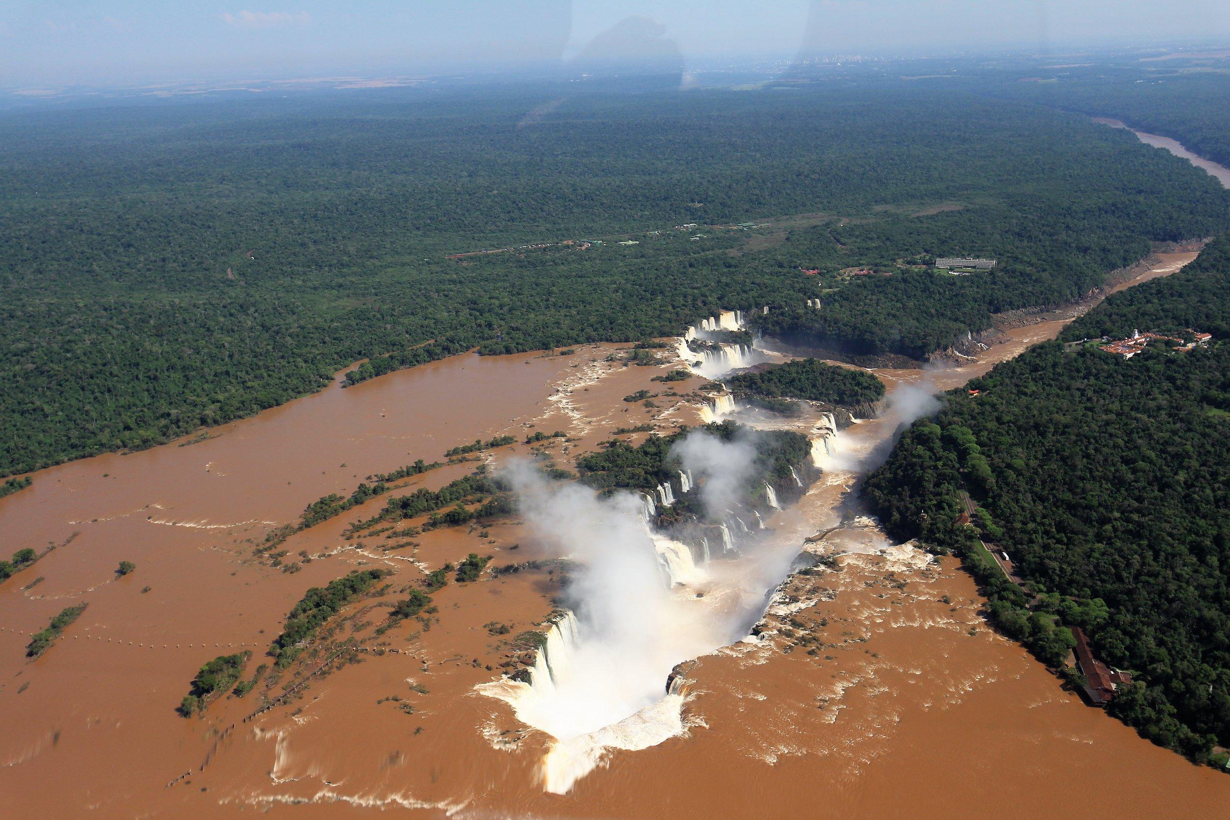 Iguazu falls by helicopter