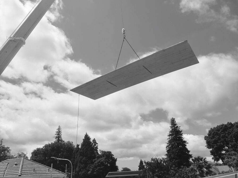 Xlam panel craned into place .JPG