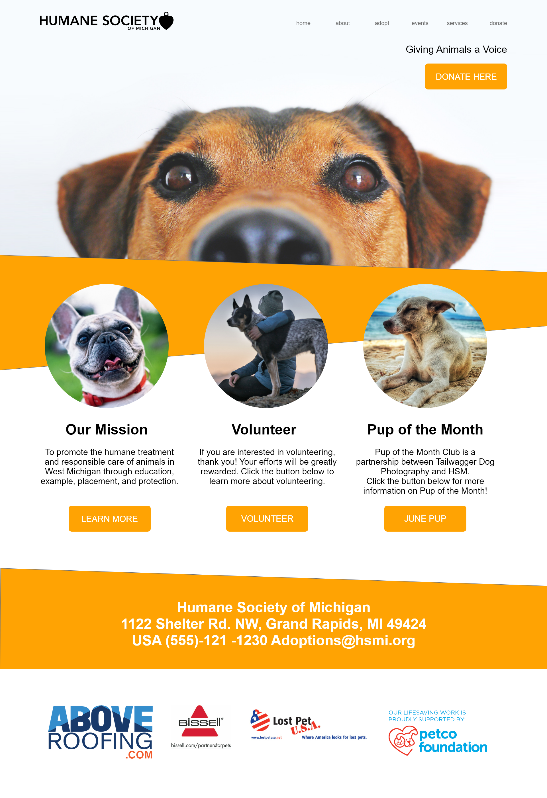Mocked up responsive UI Design to be used as an animal shelter homepage.
