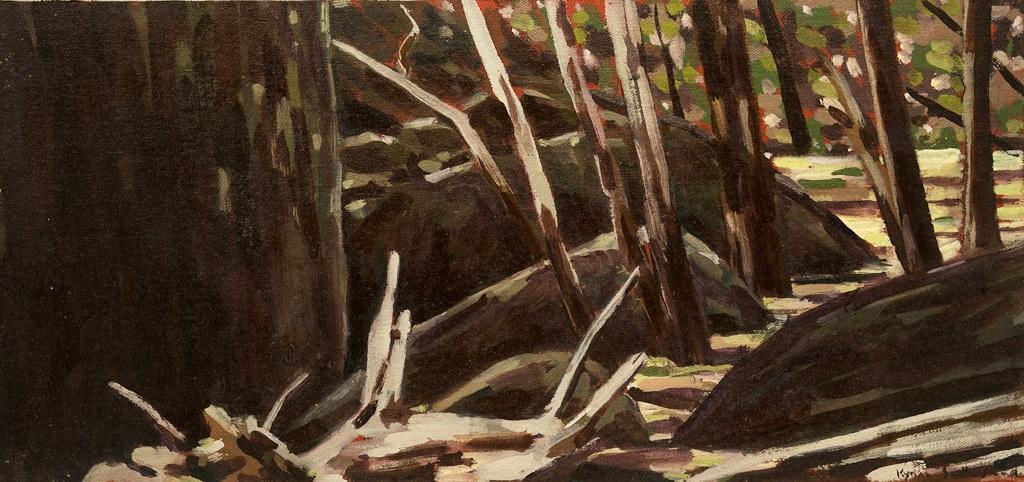 Landscape (Dog Rocks), 2018  Oil on Canvas on Board  18 x 38cm   SOLD