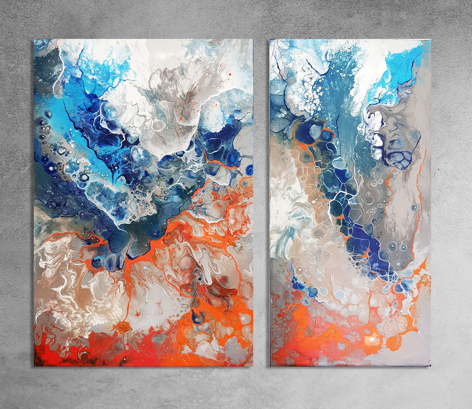 Craters ii  40x60cm and 30x60cm Acrylic and Spray Paint on Canvas.  INQUIRE.
