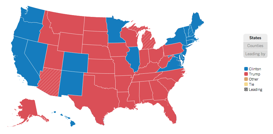 2016 election results by state
