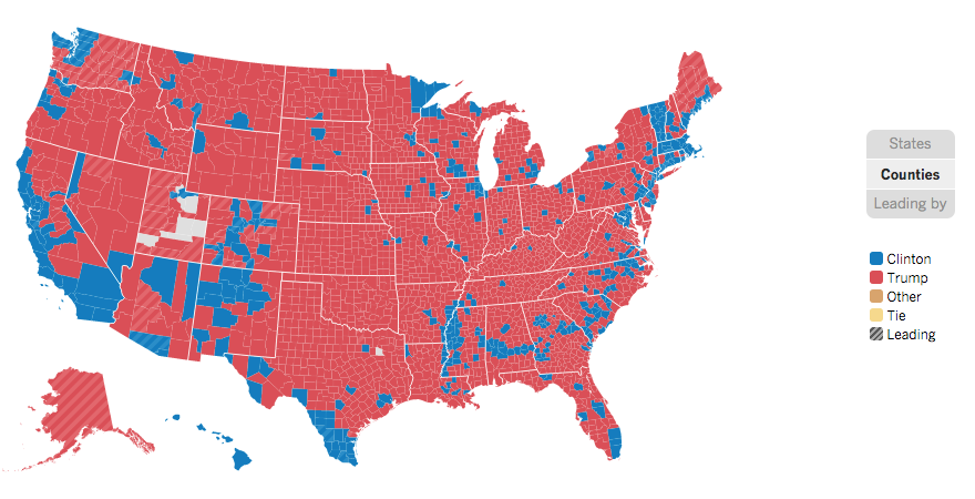 2016 election results by county