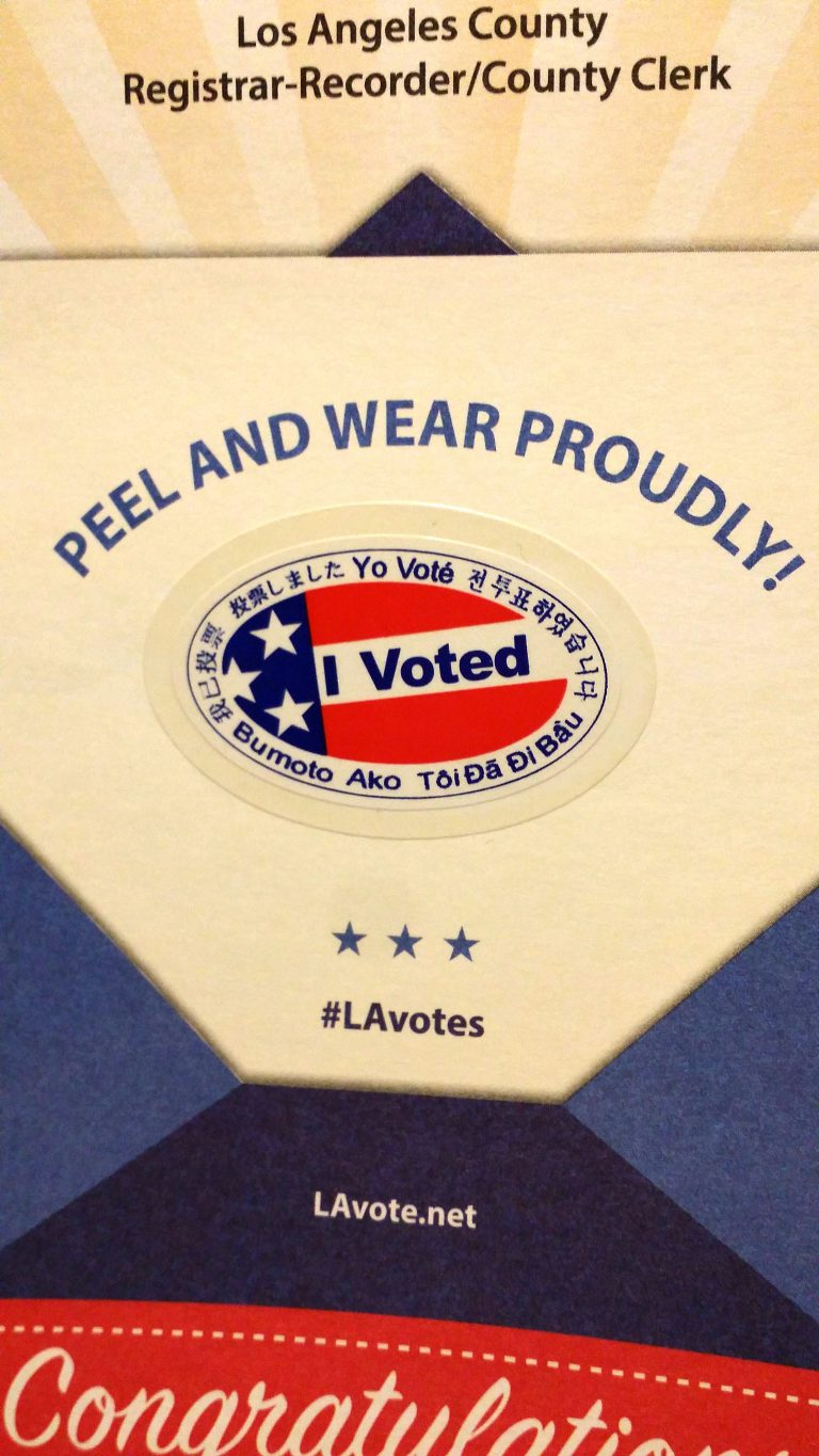 """I voted"" sticker; my last one ever"