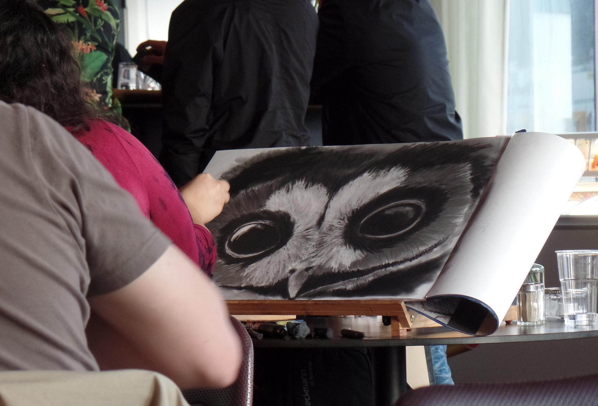 Charcoal drawing of an owl that I bought