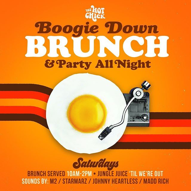 Wakey wakey, eggs & bakey... it's time for #BoogieDownBrunch served 10am-2pm with your favorite DJs spinning all day & night. • • • • • #thehotchickaz #thehotchick #scottsdaleeats #absolutelyscottsdale #arizonagram #arizonafood #igarizona #azfoodblogger #azfoodie #azfoodies #azfood #azfoodandwine #scottsdaleblogger #scottsdalefoodie #phoenixfoodie #phoenixfood #phoenixfoodculture #phoenixeats #phoenixblogger #myphx #visitphoenix #visitscottsdale