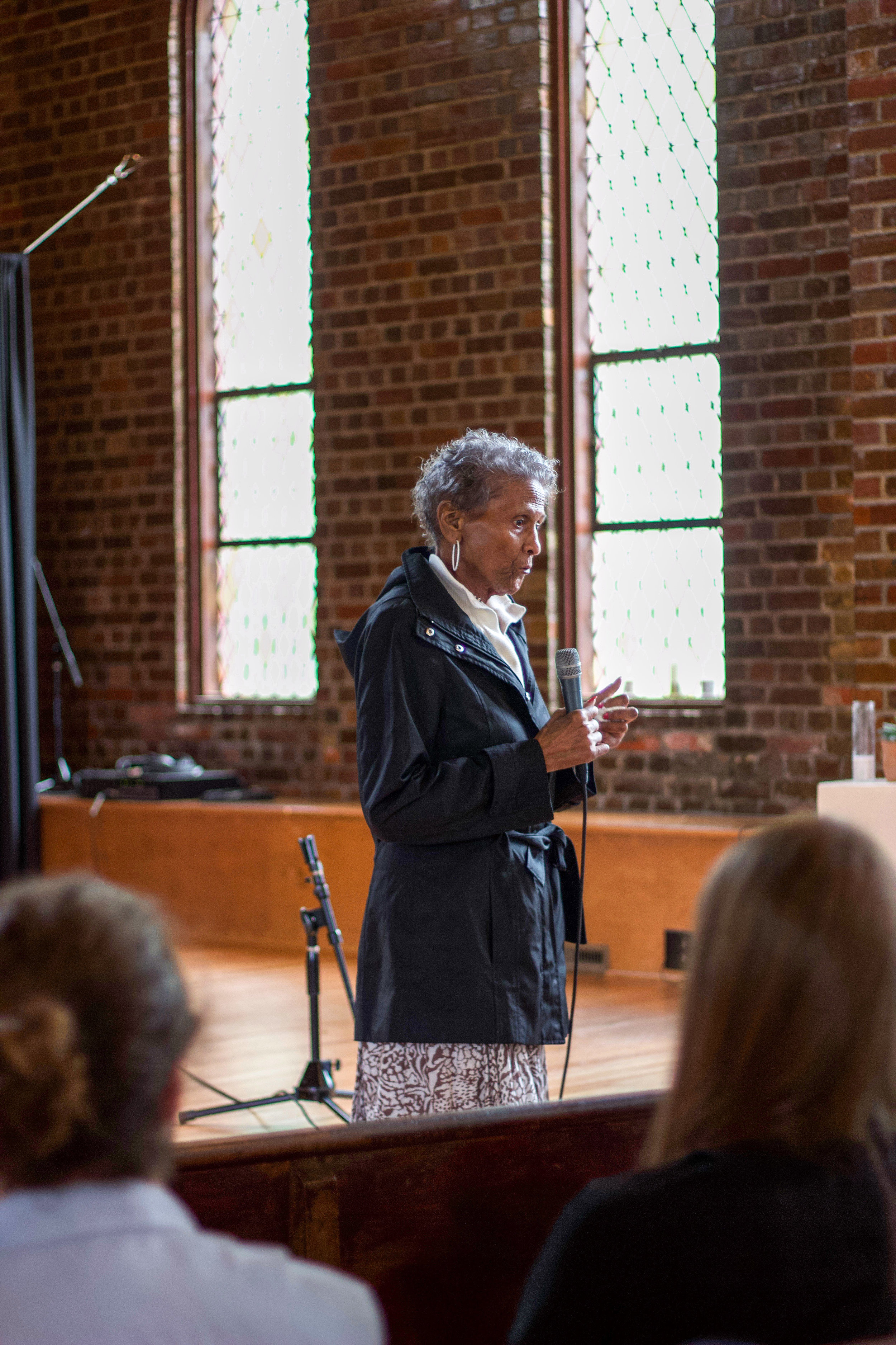 Ms. Turrentine  shares her story at a   community forum in Durham, NC on April 13, 2019. Photo by Rebecca Payne.