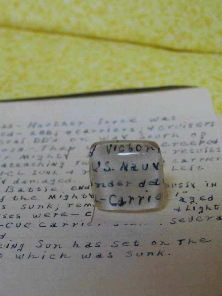 "My uncle met and married the most wonderful woman this spring. He was very close to my grandpa and had an inherent fascination for his wartime stories. With that said, I surprised him on his wedding day with cuff links made from Grandpa's war journal. He was on the San Jacinto ship, which is why""San Jac"" is in one."