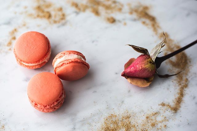 Our Seasonal Spring flavors are available for order until June 1 and one of our favorites is this beauty: Rose Petal Cardamom. With a cardamom flavored shell in a bright peach color and filled with a rose water and cardamom cream, this macaron is slightly floral and so delicious.  And don't forget, free delivery for the month of April so get those orders in now!!!