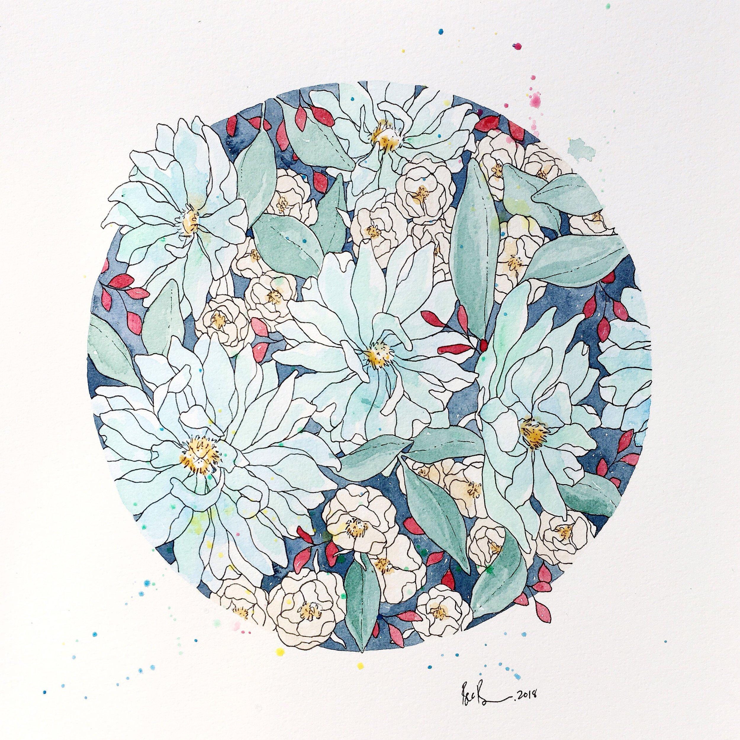 Aqua Floral - A3 Original - SOLD