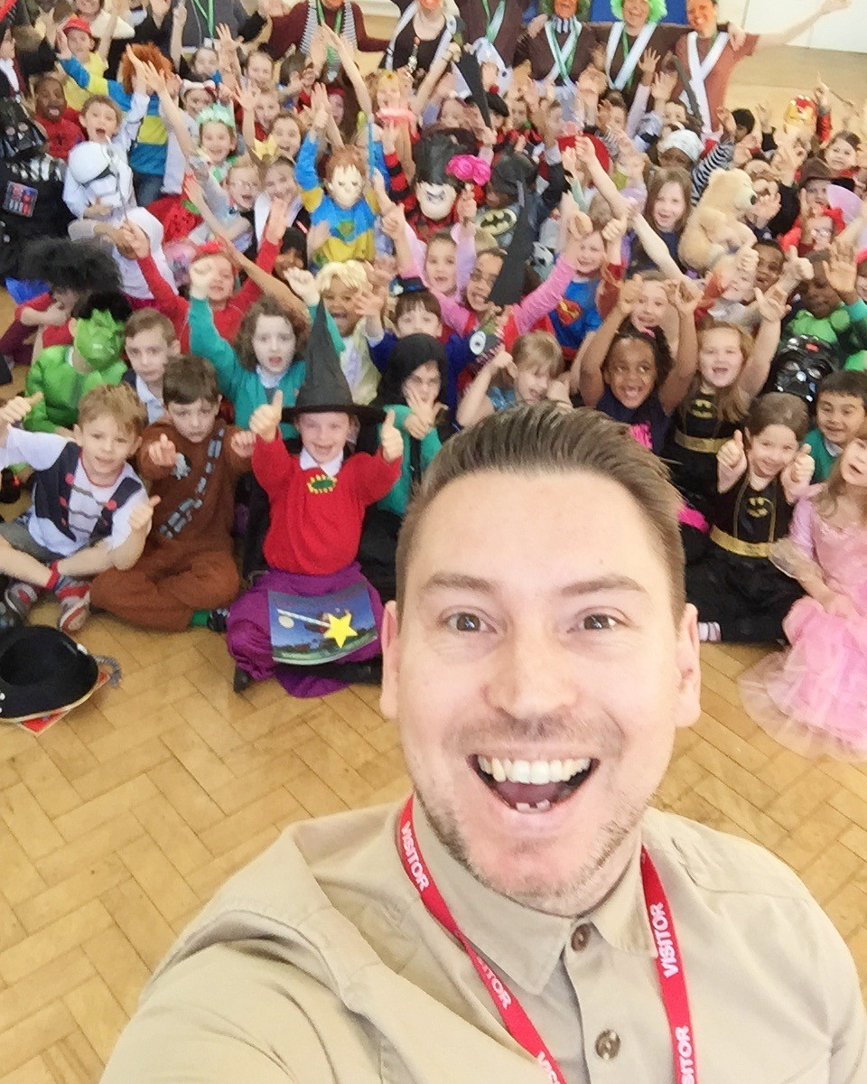 Selfie with children in WBD costume.jpg
