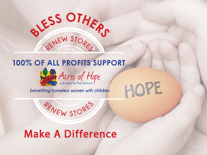 PLAY VIDEO   Volunteer at the ReNew Store, have fun, make friends, get creative and make a difference by supporting the women and children at Acres of Hope.   VOLUNTEER HUB/TEAM CALENDAR