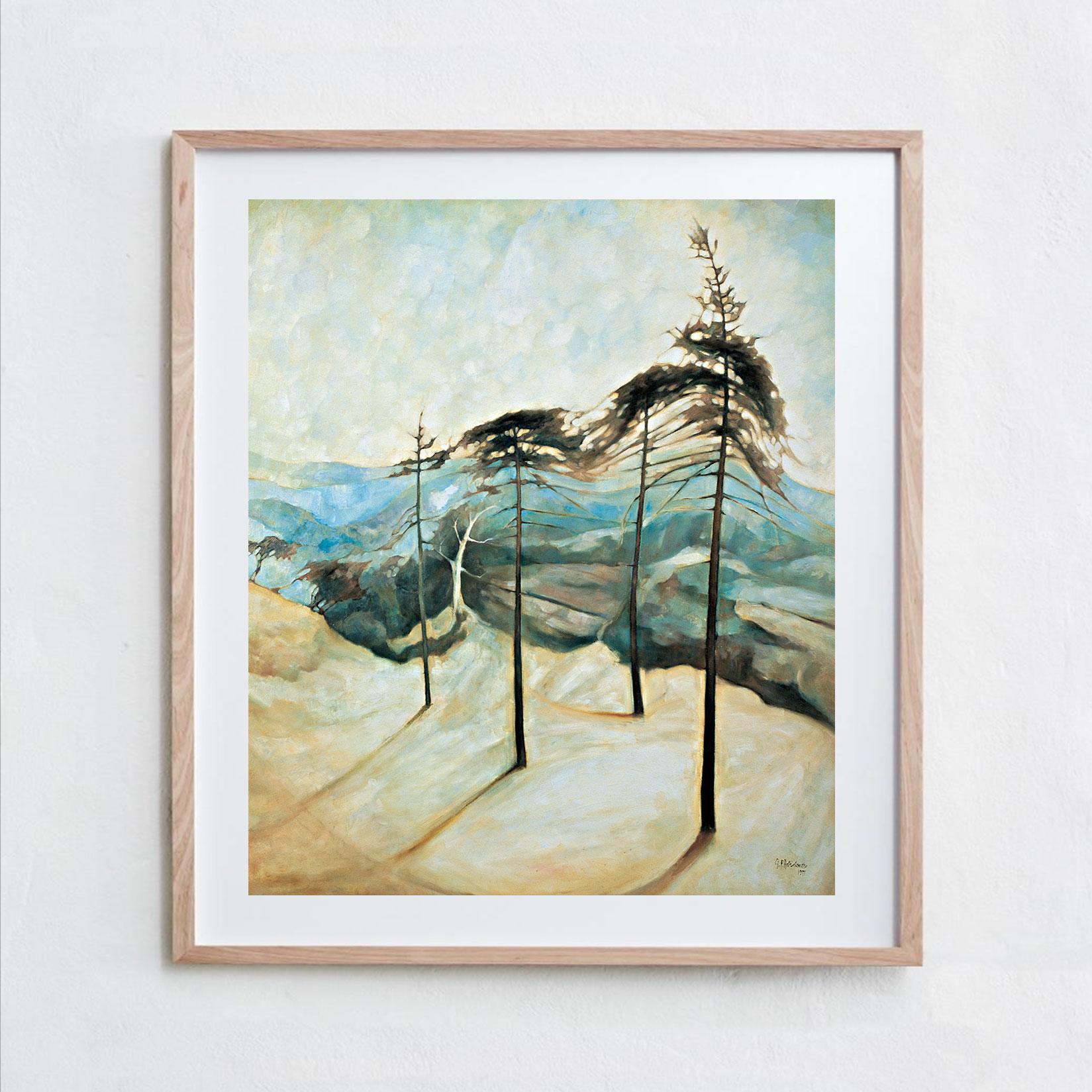 Four Pines  Oil Paint, Canvas