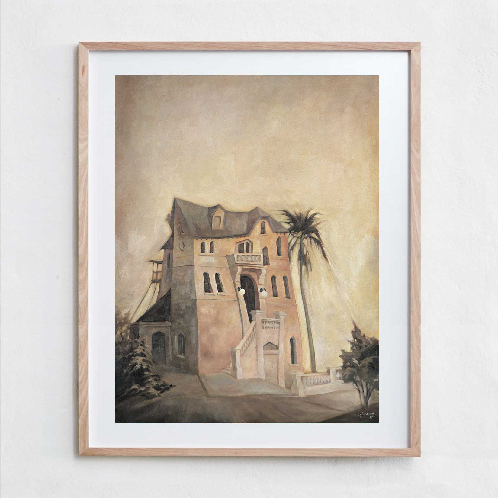 The Pink House  Oil Paint, Canvas