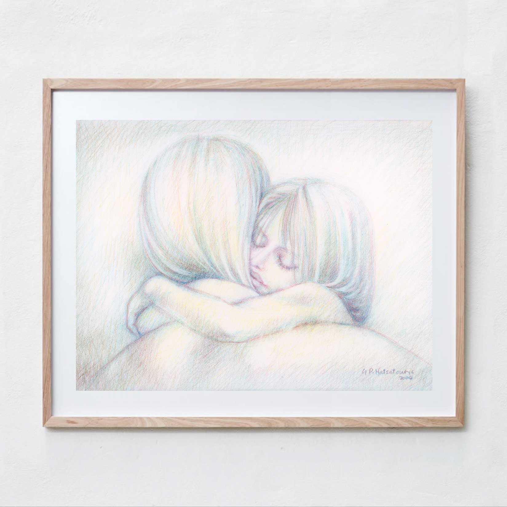 Mother and Daughter  Pencil Drawing