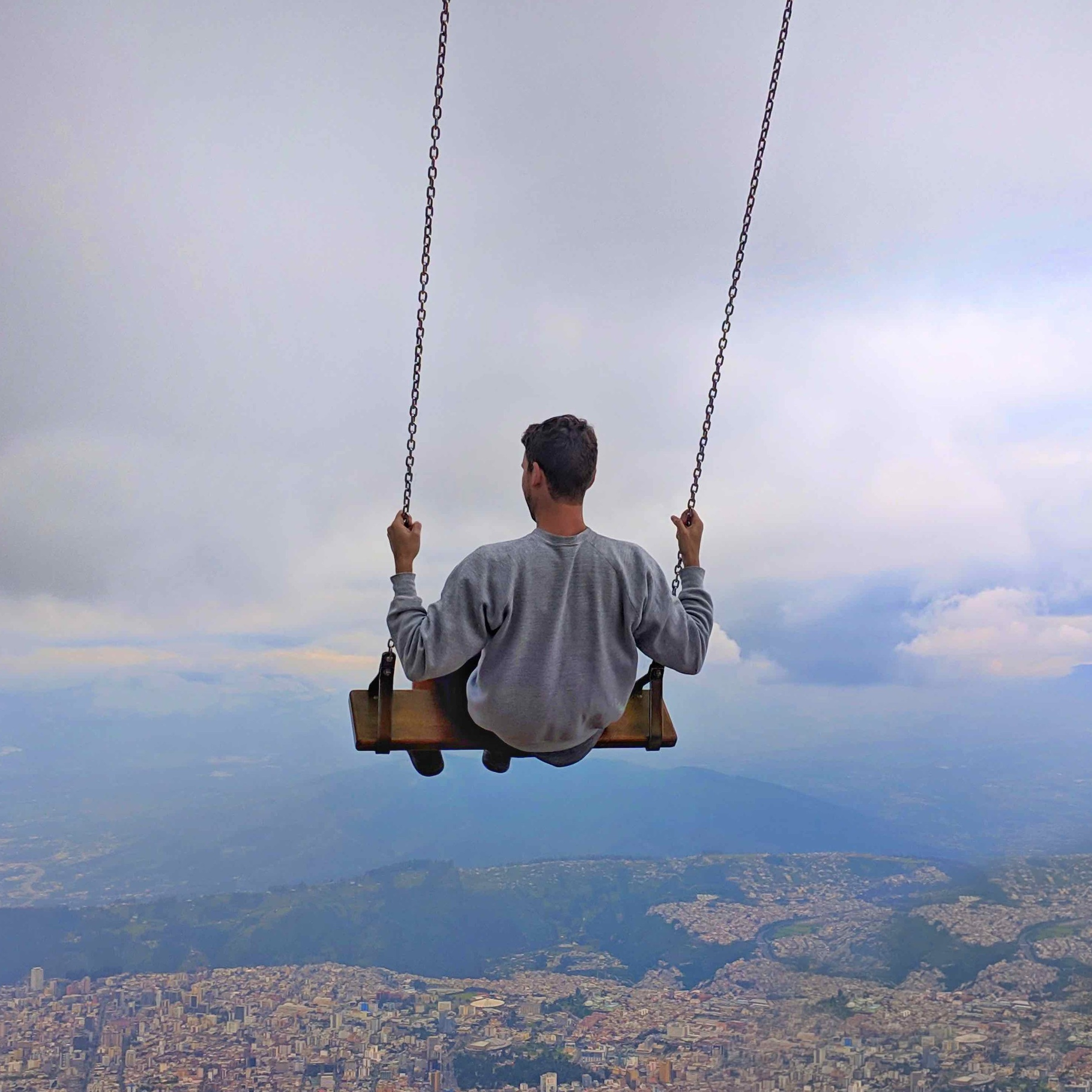 Phil swinging off the edge of the world :)
