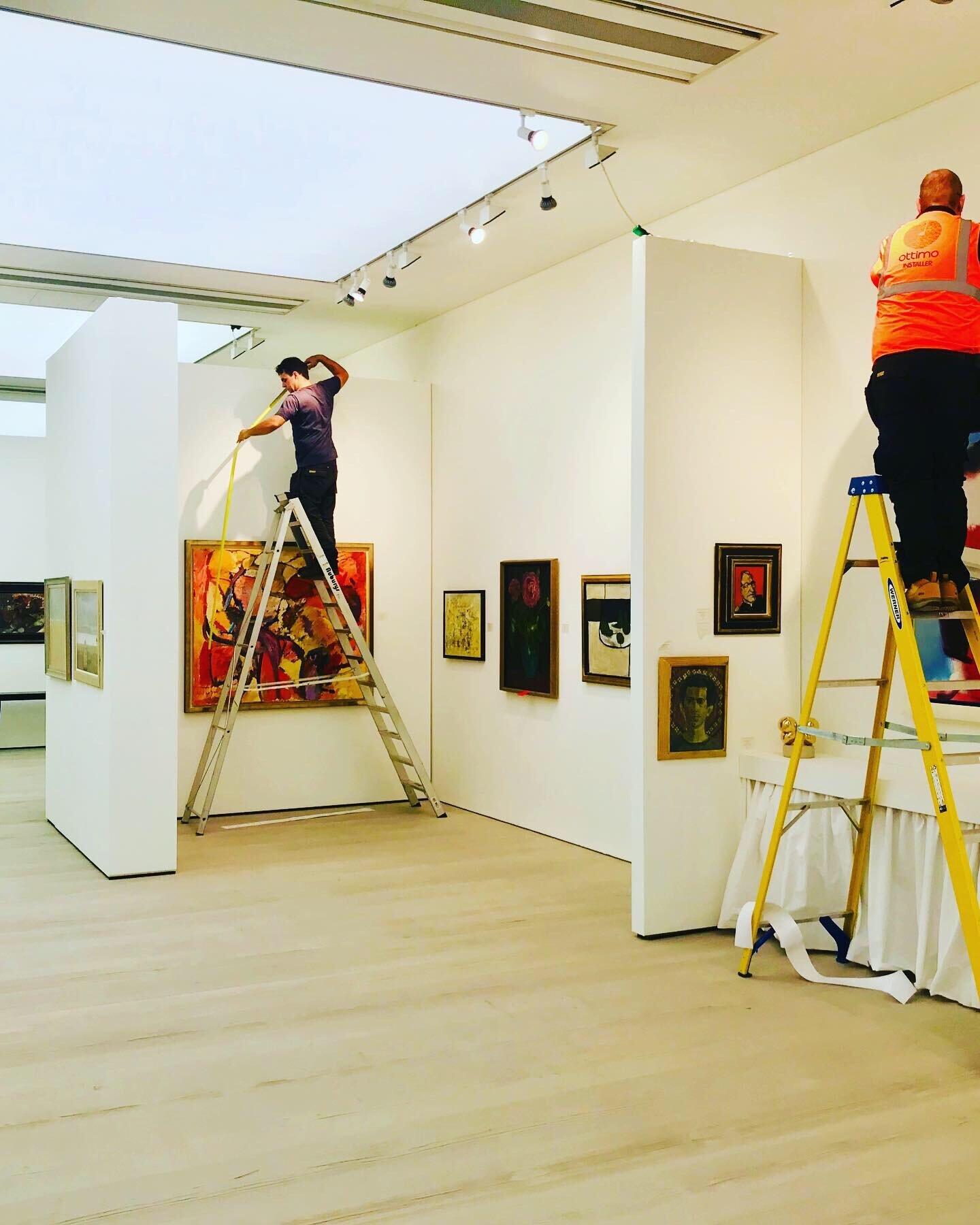 Ottimo installing graphics at The British Art Fair 2019
