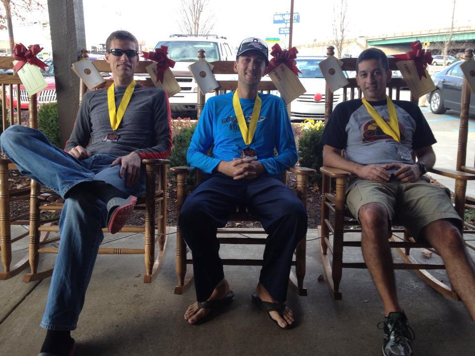 Relaxing with Greg Kyle and David Cañas after Rocket City
